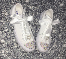 All Star Mono Converse With Pearls Hearts Swarovski AB Crystals & White Ribbon Laces