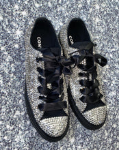 All Star Black Monochrome Converse With Crystal Diamonds & Black Ribbon Laces