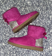 Pink UGG Bailey Bow Mini Boots With Swarovski Crystals