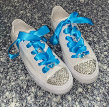 All Star Mono Converse With Crystals & Sky Blue Ribbon Laces