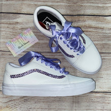 Old Skool Leather Vans With Lilac Swarovski Crystals
