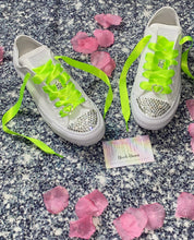 All Star Monochrome Converse With Crystal & Neon Ribbon Laces & Hearts