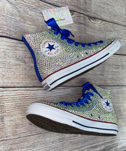 Original High Top Style Converse With Sapphire Blue Crystal AB Diamonds & Ribbon Laces