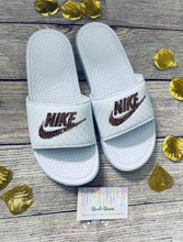 Bedazzled Rose Gold Crystal Nike Slides In White