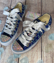 All Star Blue Converse With Pearls Diamonds & White Ribbon Laces