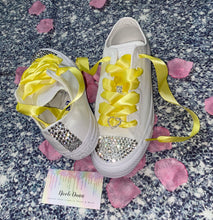All Star Monochrome Converse With Crystal & Yellow Ribbon Laces & Hearts