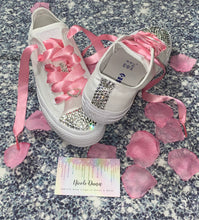 All Star Monochrome Converse With Crystal & Rose Pink Ribbon Laces & Hearts