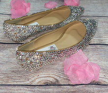 Bedazzled Ballet Pointy Style Flats In Nude With Champagne Pink & Crystals