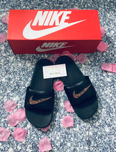 Bedazzled Rose Gold Crystal Nike KAWA Slides In Black