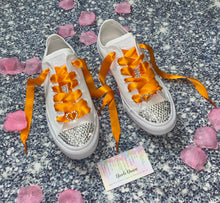 All Star Monochrome Converse With Crystal & Orange Ribbon Laces & Hearts