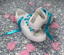 All Star Monochrome Converse With Crystal & Teal Ribbon Laces & Hearts