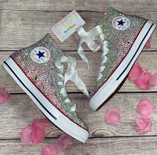 All Star Original High Top Style Converse With Crystal AB Diamonds & Ribbon Laces