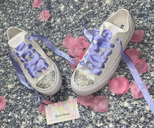 All Star Monochrome Converse With Crystal & Violet Ribbon Laces & Hearts
