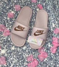 Bedazzled With Rose Gold Crystal Nike Slides In Mauve Pink