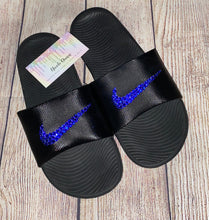 Bedazzled Sapphire Blue Crystal Nike KAWA Slides In Black