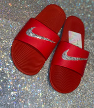 Bedazzled Crystal Nike KAWA Slides In Red