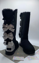 Black UGG Bailey EXTRA Triple Bow Tall Boots With Swarovski Crystals