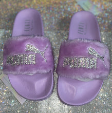 Swarovski Crystal Fenty Led Cat Slides In Purple