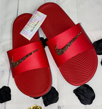 Bedazzled Rose Gold Nike KAWA Slides In Red