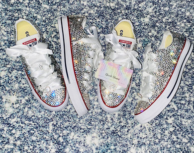 All Star Converse With Crystal Diamonds With White Ribbon Laces & Hearts