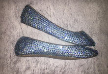 Bedazzled Ballet Flats In Nude With Light Sapphire Blue Crystals