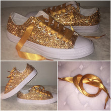 All Star Mono White Converse With Champagne Gold Diamonds With Gold Ribbon Laces