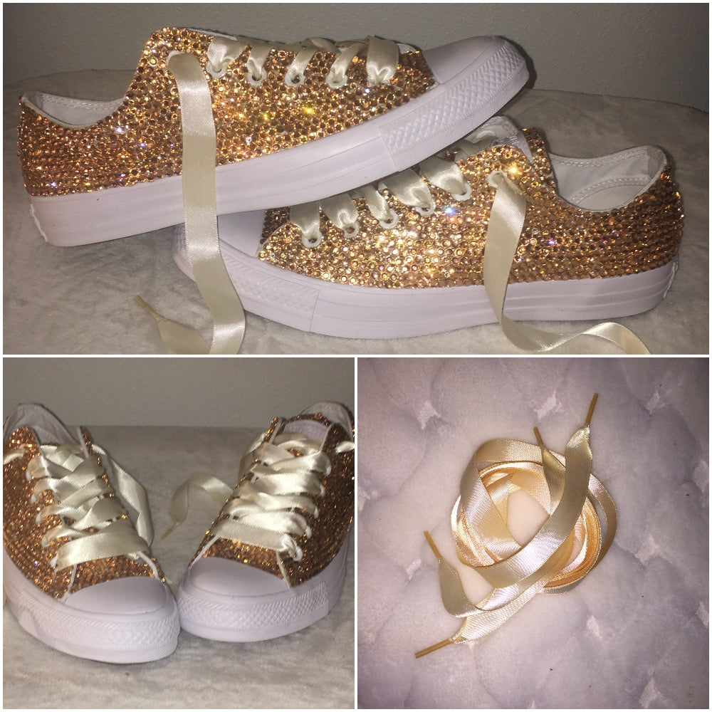 3368d720d551 ... All Star Mono White Converse With Champagne Gold Diamonds With Ivory Ribbon  Laces ...