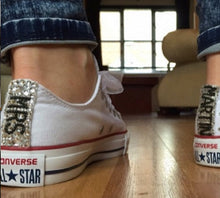 All Star Mono White Converse With Crystal AB Diamonds With Baby Blue Ribbon Lace Combo