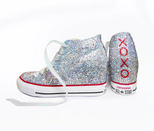 All Star Original High Top Wedges Style Converse With AB Diamonds & Ribbon Laces,