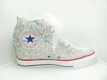 All Star Original High Top Wedges Style Converse With AB Diamonds & Ribbon Laces