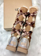 Chestnut UGG Bailey Double Bow Tall Boots With Swarovski Crystals