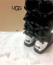 Black UGG Bailey Triple Bow Tall Boots With Swarovski Crystals