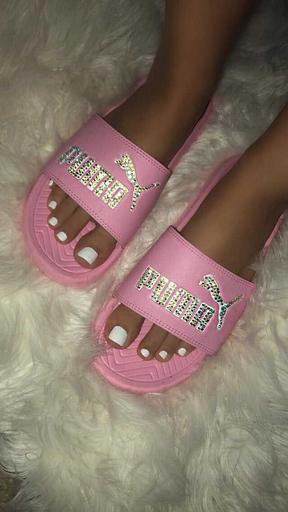 Bedazzled Crystal Puma Slides In Pink Limited Edition