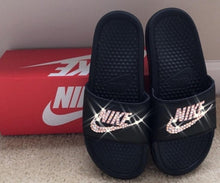 Bedazzled Crystal AB Nike Slides In Black