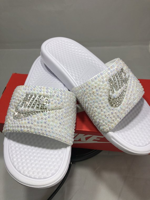 ba61019b28bc Diamonds   Pearls Nike Slides In White – Crystals By Nicole X Luxury ...