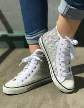 All Star Mono White High Top Style Converse With Crystal AB Diamonds & Ribbon Laces
