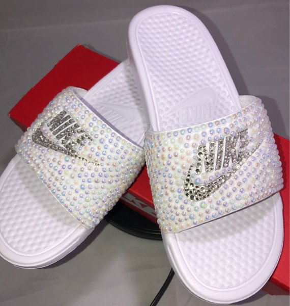 daa9f7553700 Diamonds   Pearls Nike Slides In White – Crystals By Nicole X Luxury ...