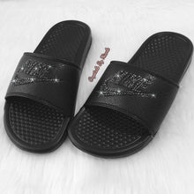 Bedazzled Jet Black Crystal Nike Slides In Black