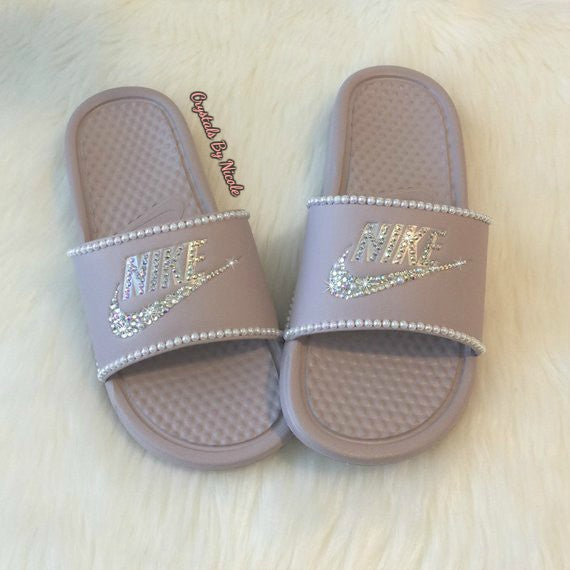 Bedazzled Crystal & Pearls Nike Slides In Mauve Pink