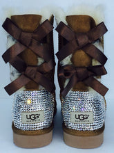 Chestnut UGG Bailey Bow Short Boots With Swarovski Crystals