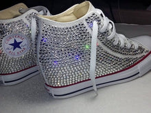 All Star Original Hi Top Wedges Style Converse With Diamonds & Red Ribbon Laces