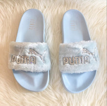 Swarovski Crystal Fenty Led Cat Slides In White Or Black
