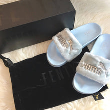 Swarovski Crystal Fenty Led Cat Slides In Baby Blue
