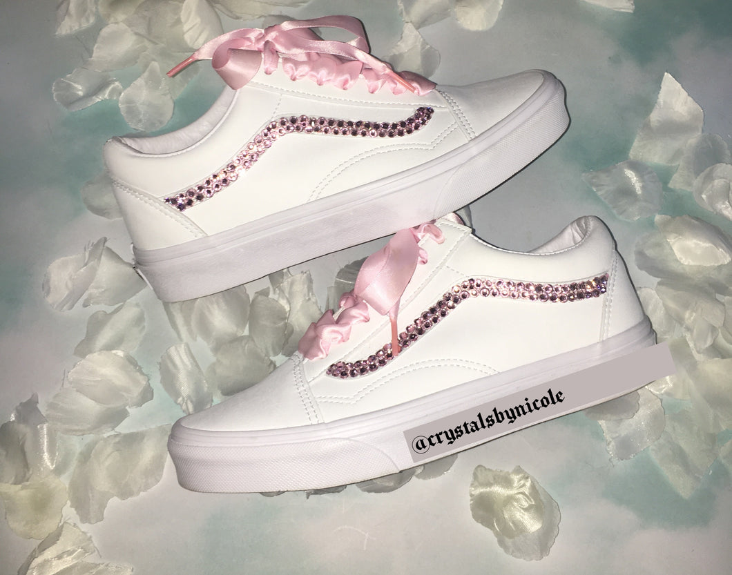 Old Skool Leather Vans With Light Rose Pink Swarovski Crystals