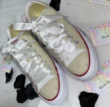Original Converse With Ivory Pearls &  With White Ribbon Laces