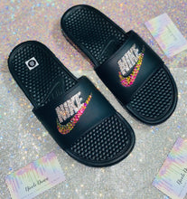 Bedazzled Crystal & Rainbow Nike Slides In Black