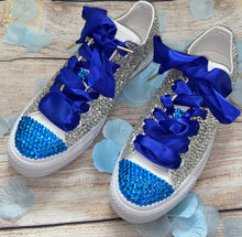 Monochrome Converse With Crystal & Capri Blue Diamonds With Sapphire Ribbon Laces