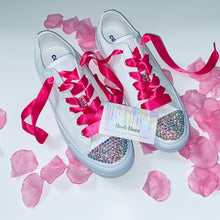 All Star Monochrome Converse With AB Crystal & Hot Pink Ribbon Laces