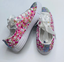 All Star Original Converse With Pearls Diamonds & White Ribbon Laces