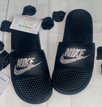 Bedazzled Crystal Nike Slides In Black